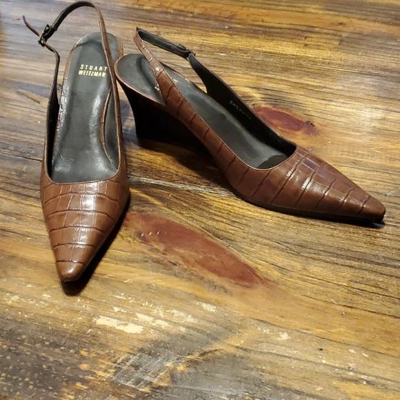Stuart Weitzman Brown Leather Wedges Size 8 N